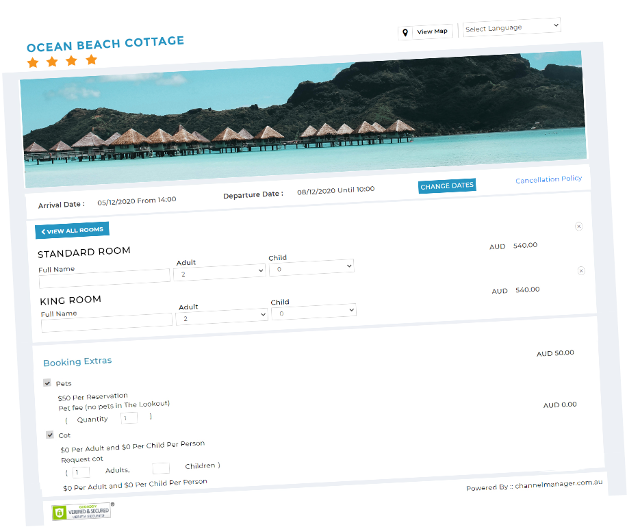 Channel Manager Hotel Page